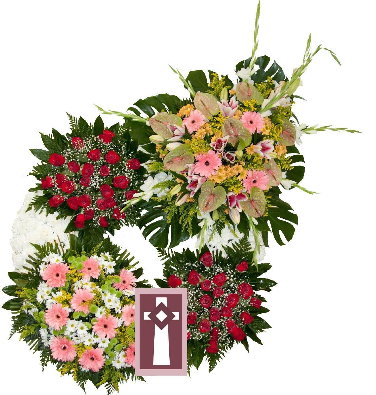 Corona. Especial 4 Cabezales, en flor natural. Dimensiones: Aro de 100cm de diámetro con cuatro centros de flor variada.