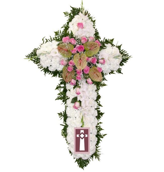 Centro. Formato Cruz, en flor natural. Dimensiones: Alto 70cm/Ancho 40cm.