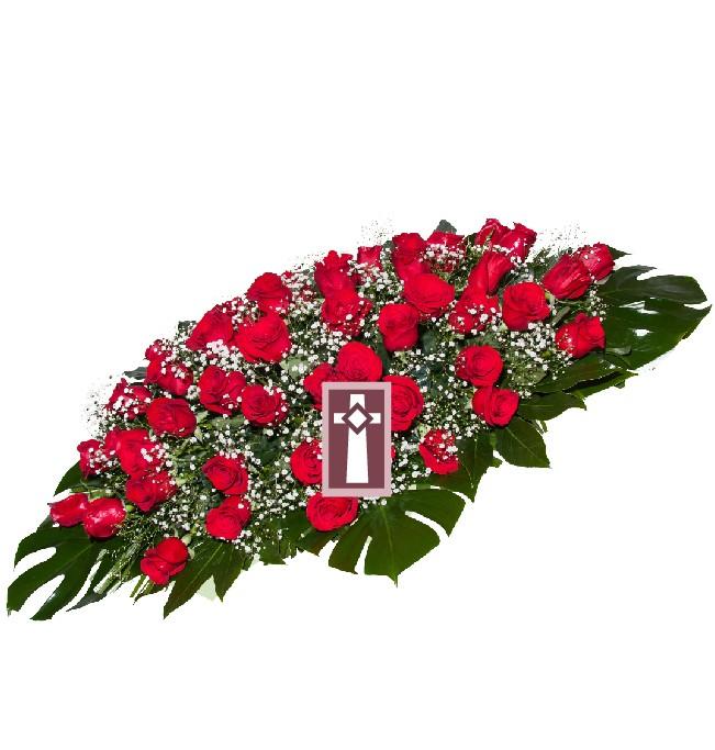 Centro. Uniforme y elegante, en rosas rojas naturales. Dimensiones: 70cm largo.