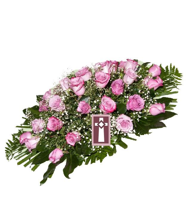 Centro. Uniforme y elegante, en rosas naturales. Dimensiones: 70cm largo.